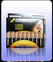 Пальчиковые батарейки Duracell Basic АA 1.5V R06 18 шт оптом.
