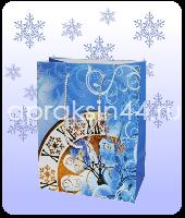 Бумажный подарочный пакет НОВОГОДНИЙ 23 х 18 х 12 см оптом. Артикул - TZ-14026.
