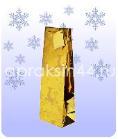 Бумажный подарочный пакет НОВОГОДНИЙ Под бутылку 36 х 13 х 8,5 см оптом. Артикул - TZ-16555.