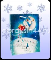 Бумажный подарочный пакет НОВЫЙ ГОД 26 х 32 х 10 см оптом. Артикул - TZ-6354.
