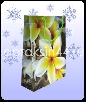 Бумажный подарочный пакет EXOTIC FLOWERS (Экзотические цветы) 18 х 23 х 8 см оптом. Артикул - TZ-6568.