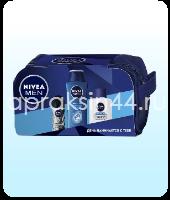 Набор мужской подарочный Nivea (Нивея) бальзам после бритья + дезодорант Невидимый + шампунь в косметичке оптом.
