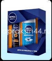 Набор мужской подарочный Nivea (Нивея) Гель для душа Пробуждающий и Спрей Антистресс оптом.