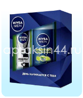 Набор мужской подарочный Nivea (Нивея) Гель для душа Энергия горной реки и дезодорант-спрей Невидимый оптом.