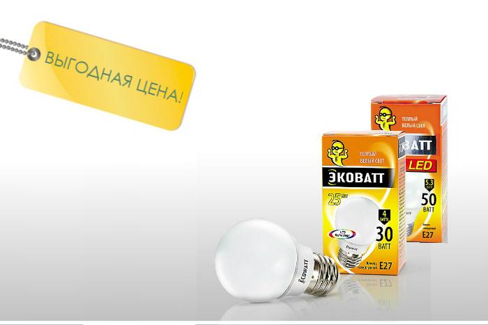 Лампа светодиодная ECOWATT (ЭКОВАТТ) Теплый Белый Свет ОПТОМ.