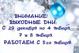 29, 30, 31 декабря, 1-4 января, 7-8 января – ВЫХОДНЫЕ ДНИ!